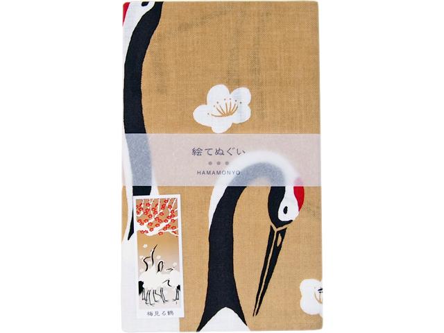 濱文様の絵てぬぐい 梅見る鶴