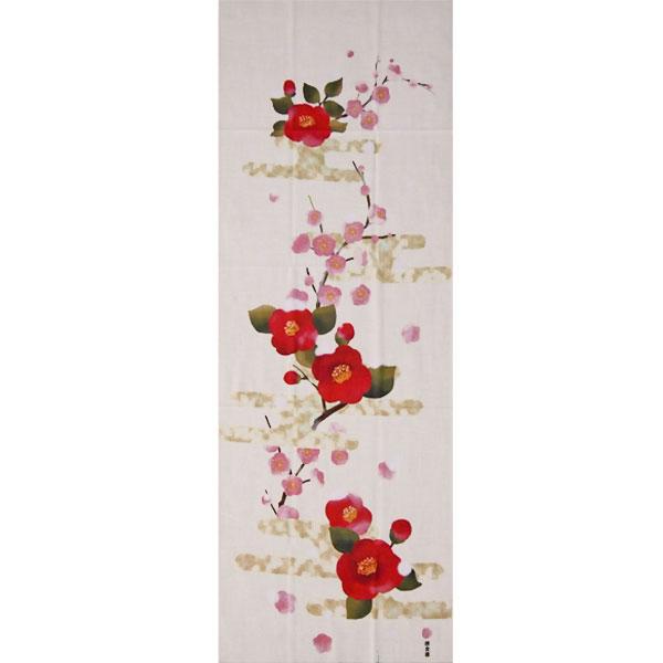 濱文様の絵てぬぐい「梅椿にぼたん雪」