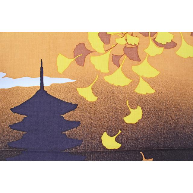 濱文様の絵てぬぐい 夕焼け銀杏
