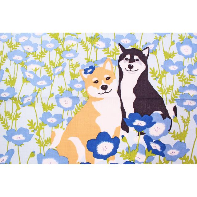 濱文様の絵てぬぐい 柴犬とネモフィラ畑