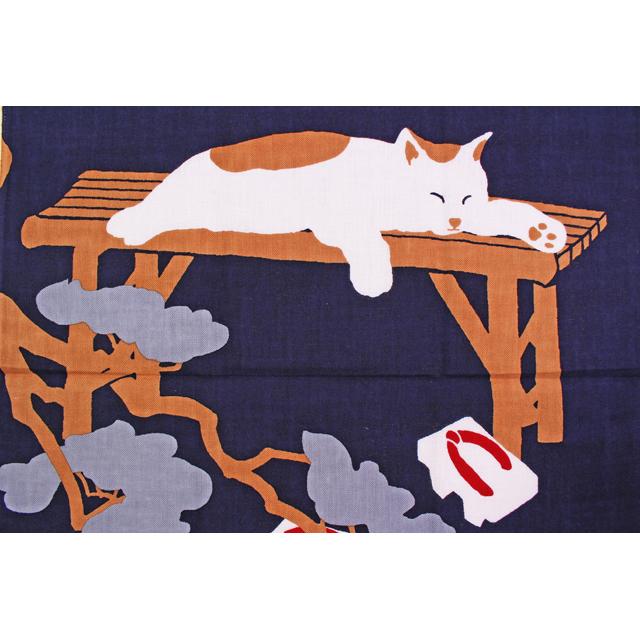 濱文様の絵てぬぐい ゆったり猫