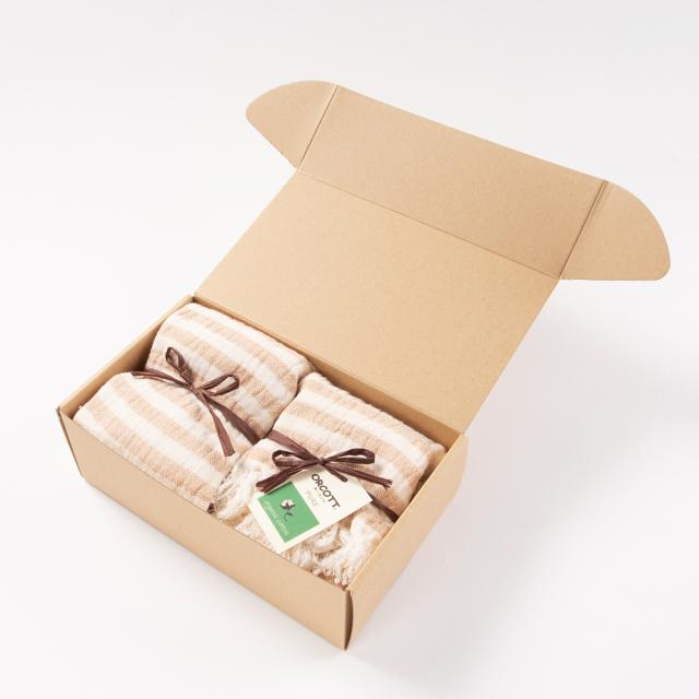 オーガニックコットンタオルセット フェイスタオル1枚 ハンドタオル1枚 内祝いや贈り物におすすめ ギフト箱付