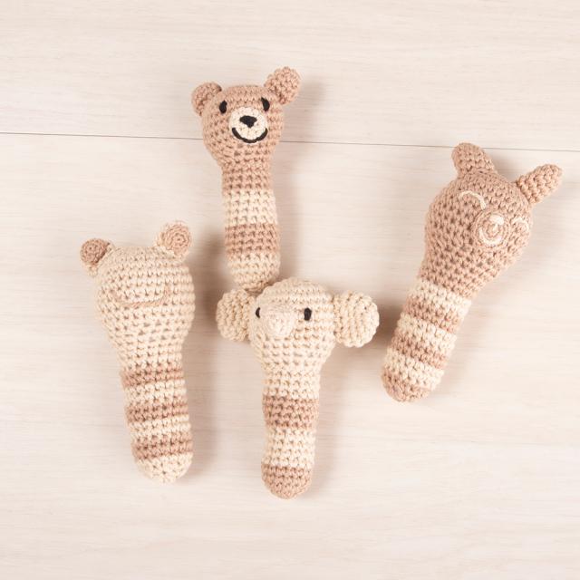 編みぐるみ オーガニック糸で作ったラトル アニマル