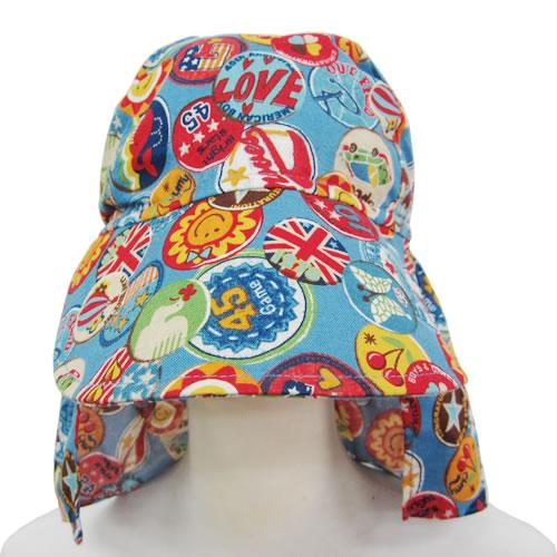UVカット帽子子ども用の紫外線対策帽子【ふんわりサンハット】:ワッペンブルー