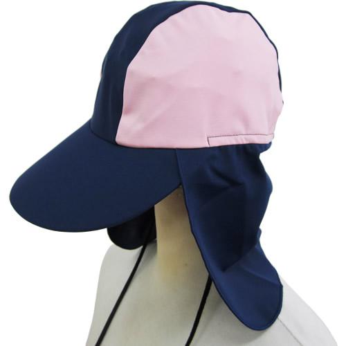 海プール用サンハット:ネイビー&ピンク(S~M)