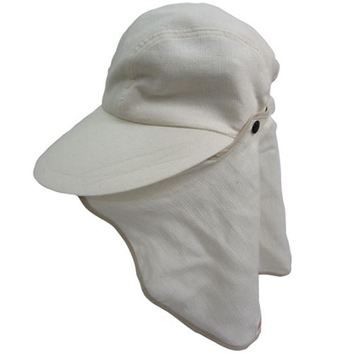 サンハットフラップ着脱式/サイズ調整ベルト付(オーガニック):ホワイト(フリーサイズ)