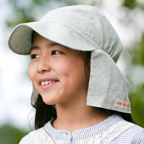 UVカット帽子子ども用の紫外線対策帽子【ふんわりサンハット】(オーガニック):グリーンストライプ