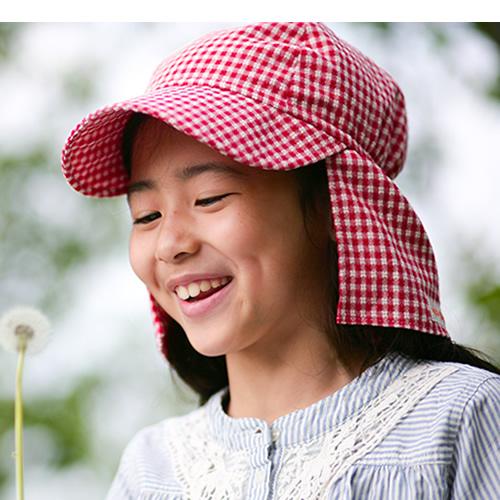 UVカット帽子子ども用の紫外線対策帽子【ふんわりサンハット】:ギンガムチェック赤