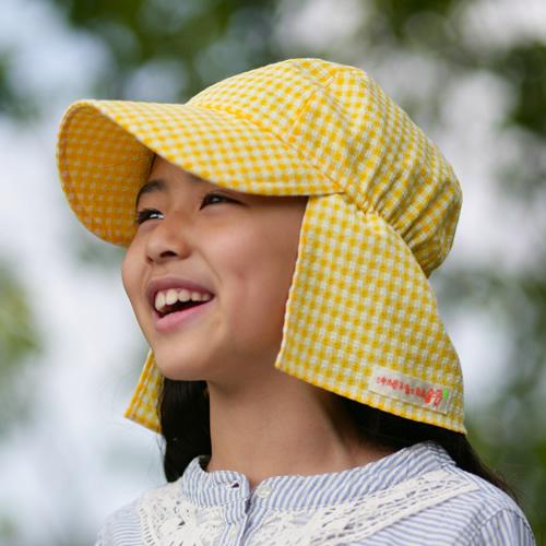 UVカット帽子子ども用の紫外線対策帽子【ふんわりサンハット】:ギンガムチェック黄色
