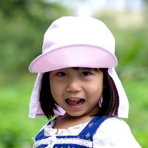 UVカット帽子子ども用の紫外線対策帽子【ふんわりサンハット】:ピンクチェック