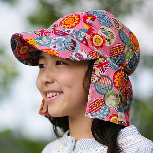 UVカット帽子子ども用の紫外線対策帽子【ふんわりサンハット】:ワッペンピンク