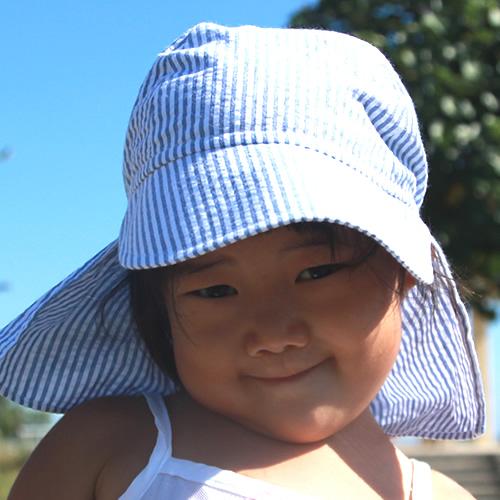UVカット帽子子ども用の紫外線対策帽子【ふんわりサンハット】:ブルーストライプ