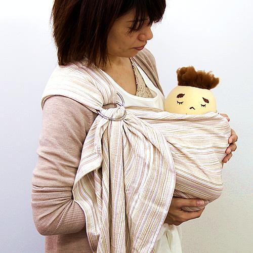 ベビースリング【快適はっぴースリング】安全な赤ちゃんの抱っこひも【日本製沖縄産】しじら織アイボリー