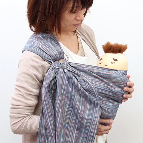 ベビースリング【快適はっぴースリング】安全な赤ちゃんの抱っこひも【日本製沖縄産】しじら織ネイビーグレー
