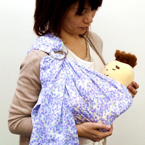 ベビースリング【快適はっぴースリング】安全な赤ちゃんの抱っこひも【日本製沖縄産】水彩ドット(ブルー)