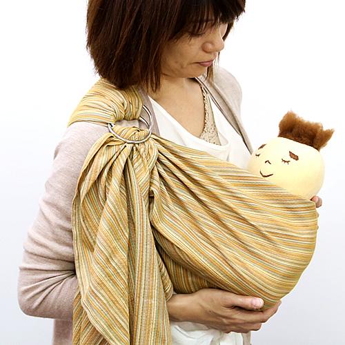 ベビースリング【快適はっぴースリング】安全な赤ちゃんの抱っこひも【日本製沖縄産】しじら織からし色