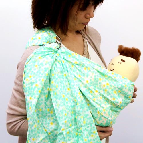 ベビースリング【快適はっぴースリング】安全な赤ちゃんの抱っこひも【日本製沖縄産】水彩ドット(グリーン)