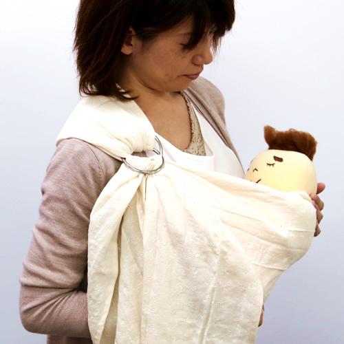 ベビースリング【快適はっぴースリング】安全な赤ちゃんの抱っこひも【日本製沖縄産】お花刺繍(アイボリー)