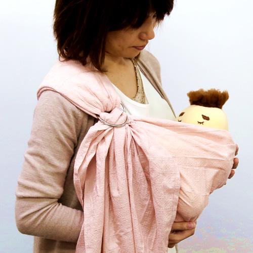 ベビースリング【快適はっぴースリング】安全な赤ちゃんの抱っこひも【日本製沖縄産】お花刺繍(ピンク)