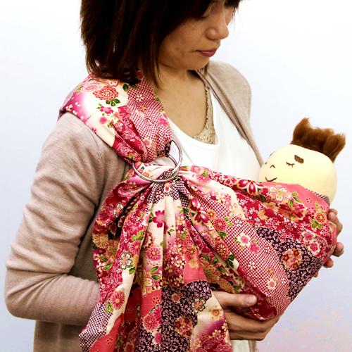ベビースリング【快適はっぴースリング】安全な赤ちゃんの抱っこひも【日本製沖縄産】和風(ピンク)