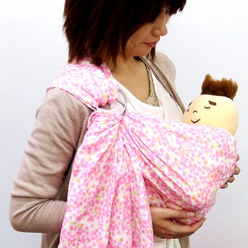 ベビースリング【快適はっぴースリング】安全な赤ちゃんの抱っこひも【日本製沖縄産】水彩ドット(ピンク)