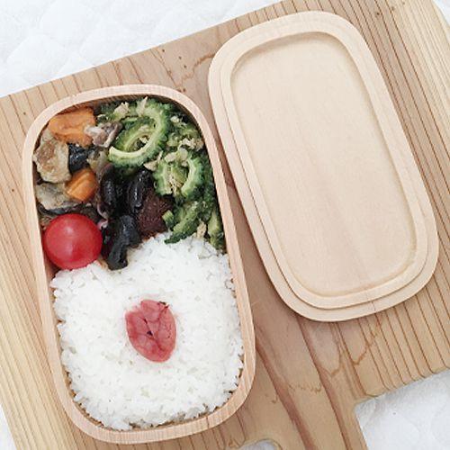 スクエア1段木製お弁当箱【お名前入れ可】くりぬき木製お弁当箱【運動会や遠足に】
