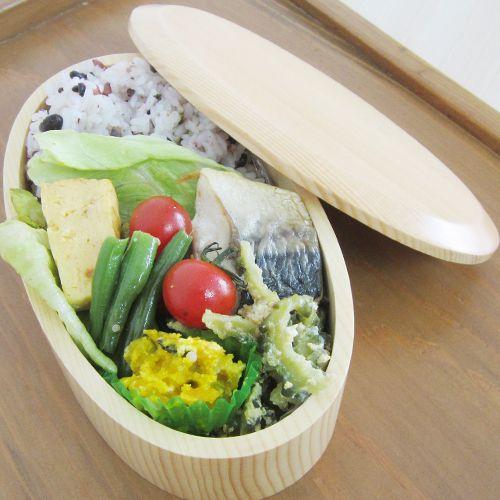 オーバル1段木製お弁当箱【お名前入れ可】くりぬき木製お弁当箱【運動会や遠足に】
