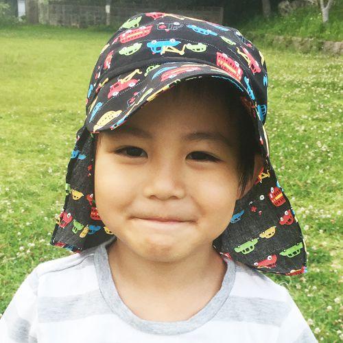 UVカット帽子子ども用の紫外線対策帽子【ふんわりサンハット:はたらく車(ブラック)】