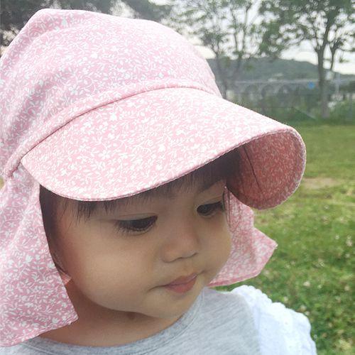 UVカット帽子子ども用の紫外線対策帽子【ふんわりサンハット】:ピンク小花