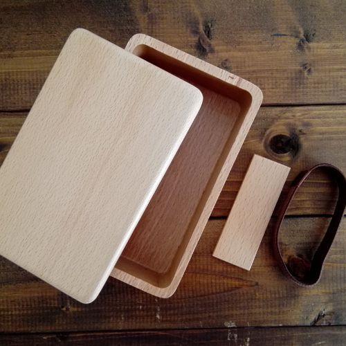 【運動会や遠足に】ブナくりぬき木製お弁当箱長方形【お名前入れ可】くりぬき木製お弁当箱