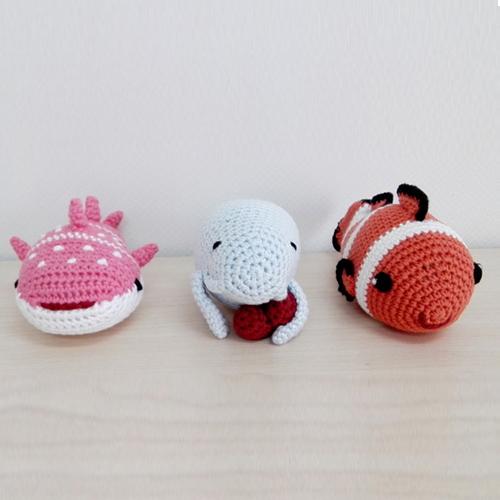 編みぐるみ3点セット 赤ちゃんのおもちゃラトル 出産祝いに最適