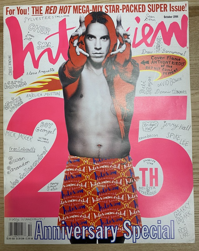 Interview Magazine October 1994 25th Anniversary Special ~ Anthony Kiedis