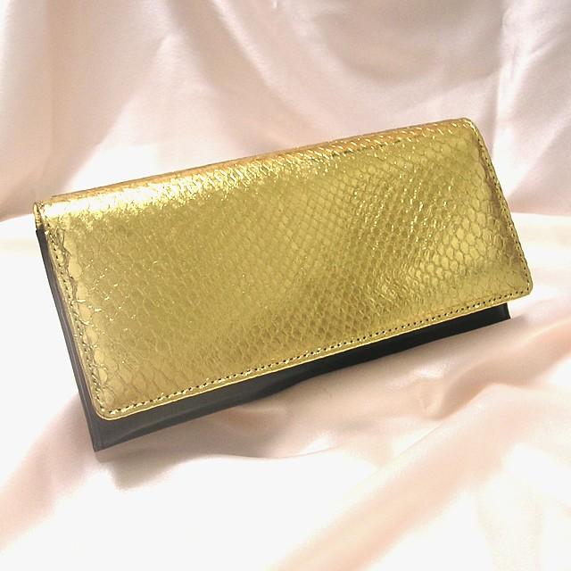開運蛇革財布 黄金の財布 ゴールド長財布
