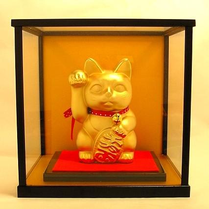 黄金招き猫ガラスケース入り