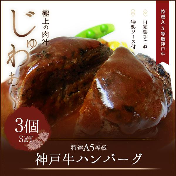 [ギフト]A5等級神戸牛ハンバーグ  150g×3個