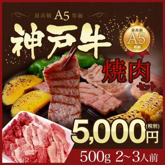 家庭用 神戸牛 焼肉セット!【特選A5等級】神戸牛赤身・ロース・カルビ5,000円