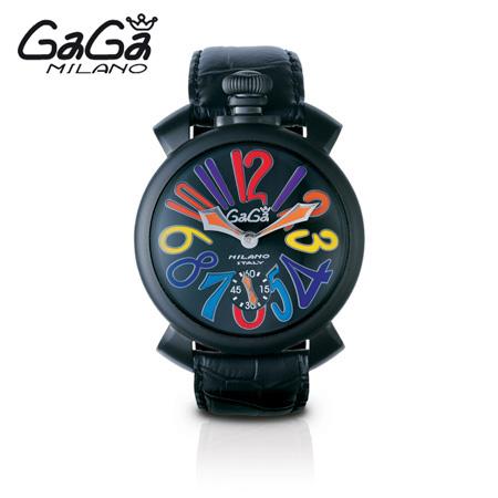 ガガミラノ GaGa MILANO 手巻き腕時計 マヌアーレ MANUALE 48mm カーボン(ブラック PVD) 5012.3