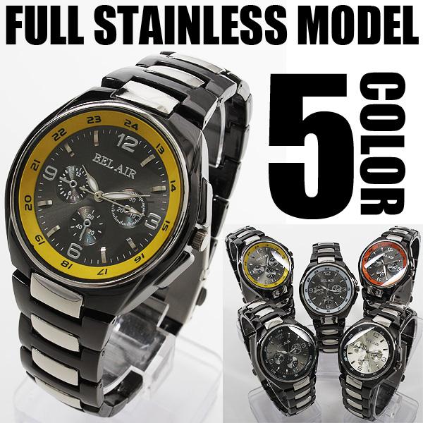 バイカラー仕様フルステンレス腕時計AC-W-FHD92