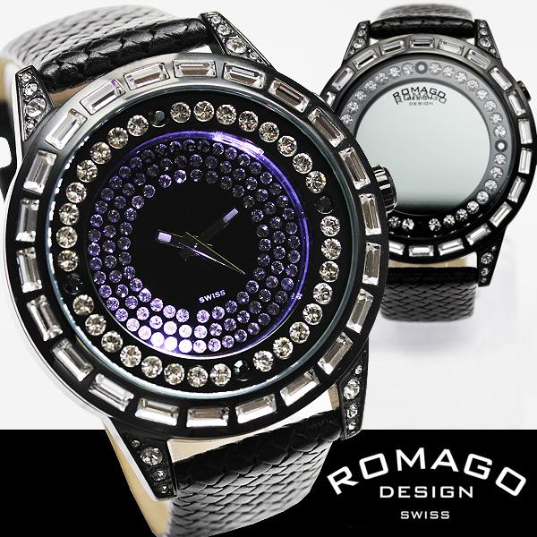 ROMAGO(ロマゴ)ミラー文字盤・ビッグフェイス腕時計AC-W-RM006-1477BK-WH