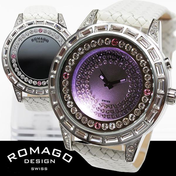 ROMAGO(ロマゴ)ミラー文字盤・ビッグフェイス腕時計AC-W-RM006-1477SV-WH