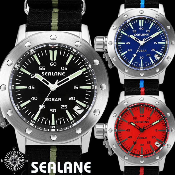SEALAN シーレーン 20気圧防水ナイロンベルトウォッチ メンズ腕時計