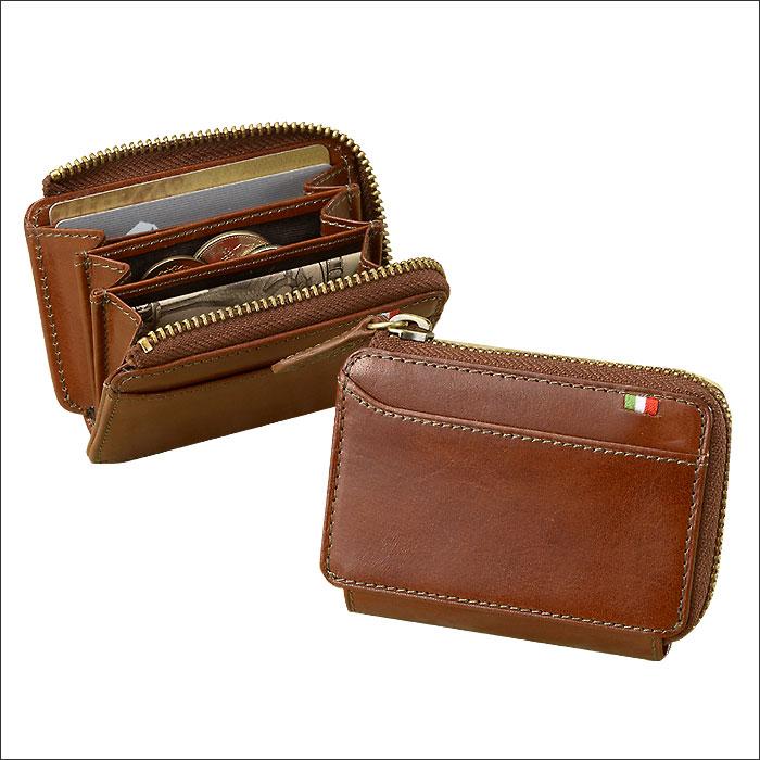メンズ 財布 二つ折り財布 BOX型小銭入れ ミラグロ イタリアンレザーヌメ革