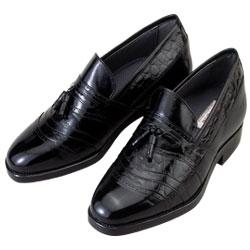 背が高くなる靴 カンガルー革タッセルスリッポン【No701】5cmUP