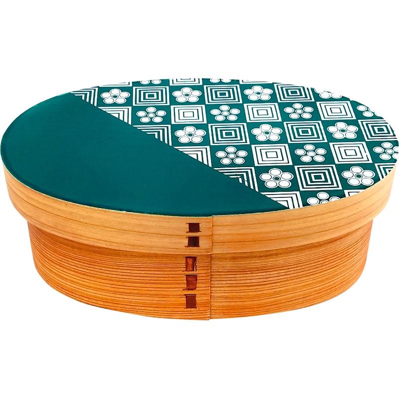 【送料無料】山中塗りKutan曲げわっぱお弁当箱 Sサイズ梅畳 青(緑) B6017-564