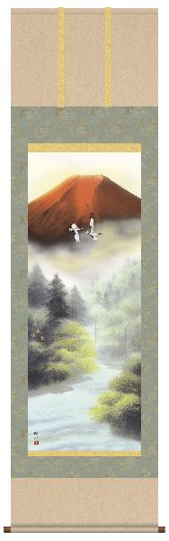 掛け軸 赤富士 浮田秋水