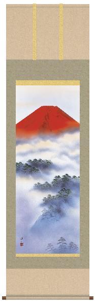 掛け軸 赤富士 伊藤渓山