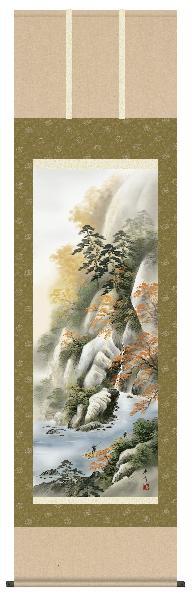 掛け軸 紅葉山景 小林秀峰