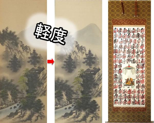 軽度尺八合金襴裂地(奈良蜀江柄 紺)仏表装