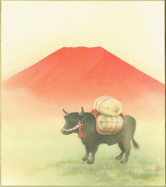 赤富士と牛