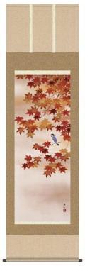 掛け軸 紅葉に小鳥 長江桂舟